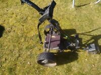 Powakaddy Golf Trolley, still sturdy with working battery with accompanying Trolley Cover.