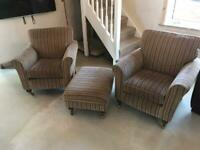 Pair of Grafton Accent Arm chairs and Footstool