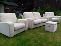 3 Piece Robert Lloyd Cream Fabric Sofa with Storage Pouffe