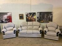LOVELY GREY FABRIC SOFA SET IN EXCELLENT CONDITION 3-1-1 seater