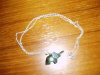 Jade Elephant Pendant on Silver Chain - Never Worn