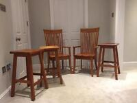 Cherry solid wood furniture - x3 bar stools, x2 armchairs