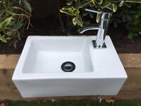 Small sink and tap for downstairs bathroom