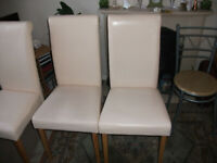 6 cream coloured faux leather dining chairs