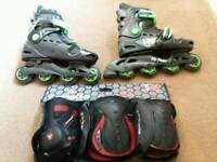 Roller blades with pads