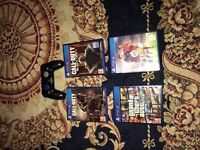 PS4 WITH BOX RECEIPT 2 CONTROLLERS 4 GAMES