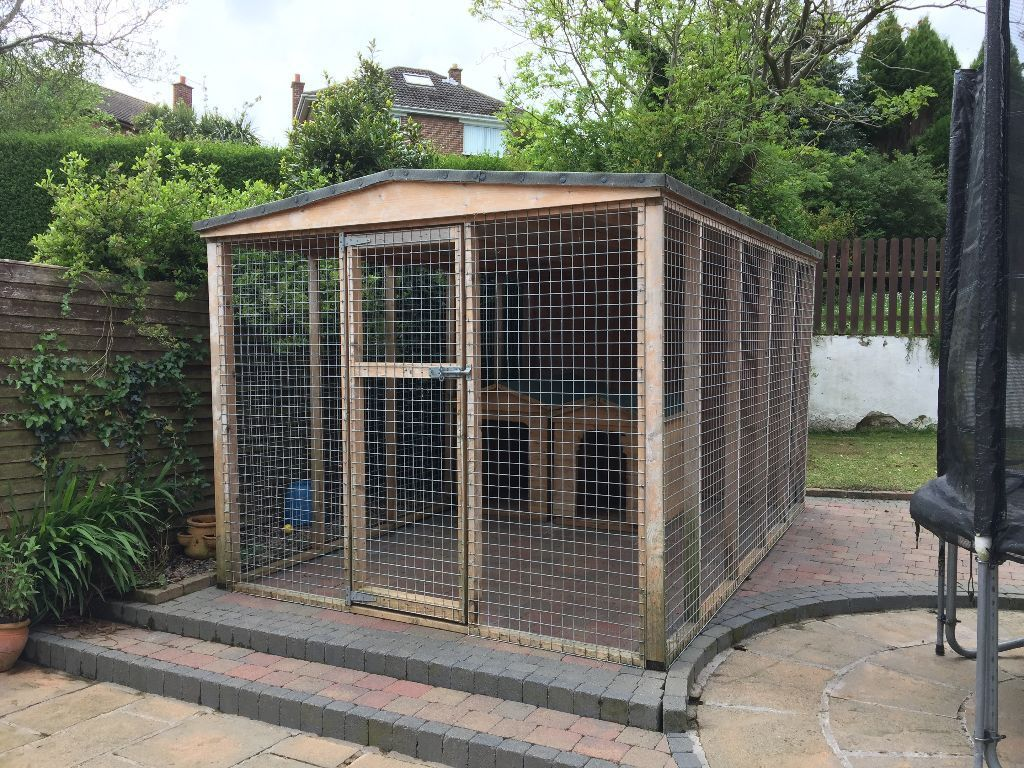 Extra Large Galvanised Sheltered Dog Run Dog Pen And 2