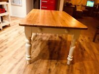 5 ft x 3 ft pine kitchen table with drawer - legs painted in farrow and ball paint
