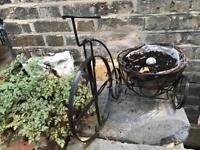 Black Metal Bike Garden Ornament with plant Pot £15.00