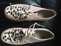 Ladies Office pink suede and animal print brothel creepers
