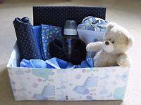 Baby Boy Gift Bundle, Bottle, Bottle Holder, Changing Mat, Shoes, Jacket, Cloths, Organiser, Teddy