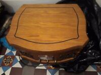 Modern wood retro radio and record player
