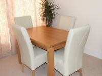 Dining table & four chairs solid oak