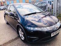 HONDA CIVIC 1.8 SE PETROL MANUAL BLACK 2008 5 DOORS FULL HISTORY LEATHER SEATS