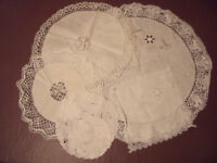 VINTAGE DOILIES- 6 (or 5 + 1 handkerchief?) linen and lace. £9 ovno lot. Will split. Can post.