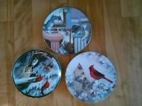 Beautiful collector plates, birds and/or cats/kittens, $15 each