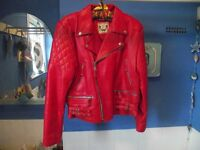 LADIES MOTORBIKE RED LEATHER JACKET SIZE 12