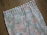 Pencil pleat machine washable lined curtains 52L X 90 W. Multi colour pink /green/white