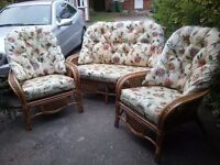 Conservatory cane furniture. Sofa & 2 armchairs.