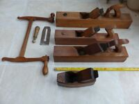 Antique wood working tools all in VGC, planes and fret/bow saw