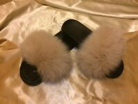 Beige Real Fox Fur Sliders