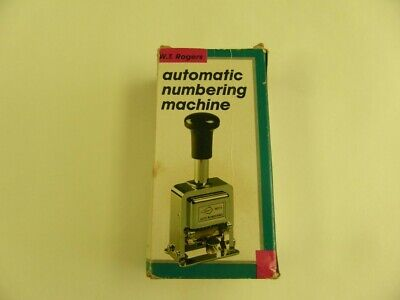 W.t. Rogers Automatic Numbering Machine Model 04213 Old Ink Included