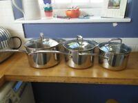 M&S copper based saucepans set of 3