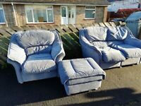 FREE- Sofa Armchair & Puffee Light Blue - Deliver local