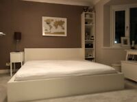White Ikea Superking Malm Bed incl mattress and side table, shelving unit and chest of drawers