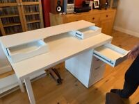 IKEA White Desk and 4 Shelves