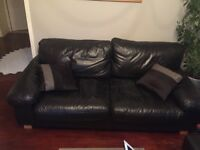 Black leather sofa from DWELL hardly used 3 seater