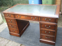 Antique reproduction mahogany pedestal desk green leather writing surface 54ins wide