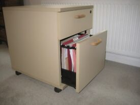 2 drawer filing cabinet with hanging files on castors. Good condition.
