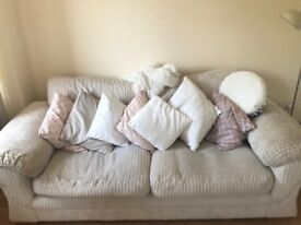 3 seater well looked after neutral/off white/stone colour sofa