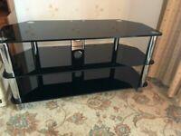 Black Glass Chrome TV Stand Table 3 Tiers Cabinet Unit Shelves 105x53x45cm