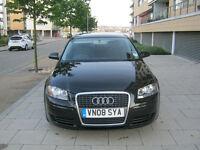 2008 audi a3 2.0 tdi manual, 170 bhp, 1 owner, 127k f/s/h, met black, in excellant, hpi clear 100%