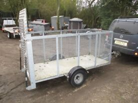GALVANISED 8 X 3-6 CAGED 1300KG BRAKED TRAILER WITH ALLOY RAMPTAIL...