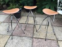 "3 x ""ARRBEN ITALY"" leather designer kitchen stools"