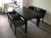 IKEA Bjursta extending dining table + chairs