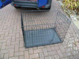 Metal folding dog cage, large