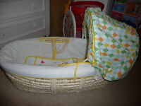 Mothercare Moses Basket with 2 Fitted Sheets for Sale