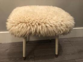 Vintage mid century retro real sheepskin dressing table stool with dansette legs