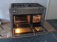 SMEG dual fuel range cooker, model - 6 gas burners, 2 electric ovens, storage/warming area