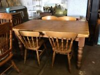 Pine plank top farmhouse table and chairs