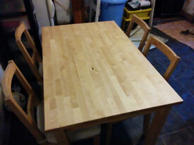 IKEA Dining Table & Chairs (Solid Pine)