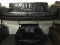 Black leather 3 and 1 sofas