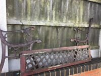 Cast Iron Garden Bench With Cast Iron Lattice Back Plate- 3 Available- DELIVERY/COLLECTION WIGAN