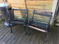 Pair Of Cast Iron Garden Chairs / Benches - WR