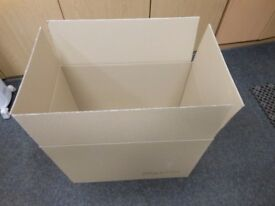 10 brand new cardboard boxes. ideal for moving home 24 ins wide x 18 ins high x 15.5 ins deep