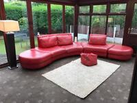 Dfs Red Leather Contemporary Large Modular Corner Sofa // 2 + 3 Seater